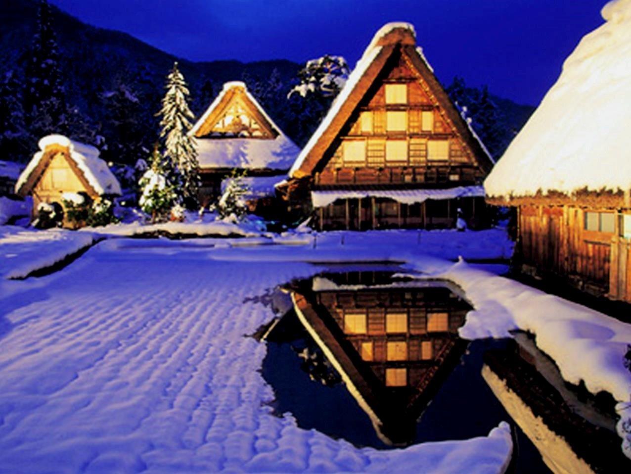 白川鄉合掌村冬季夜間點燈