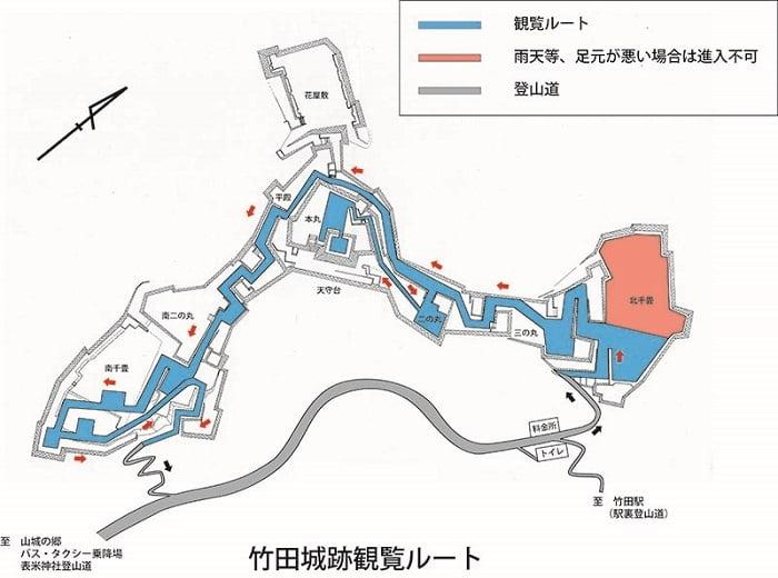 竹田城跡遊覽路線地圖