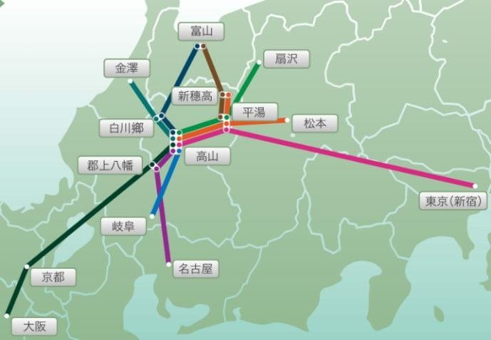 濃飛巴士主要交通路線圖