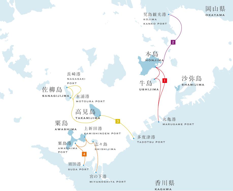 瀨戶內國際藝術祭西香川會場航線圖
