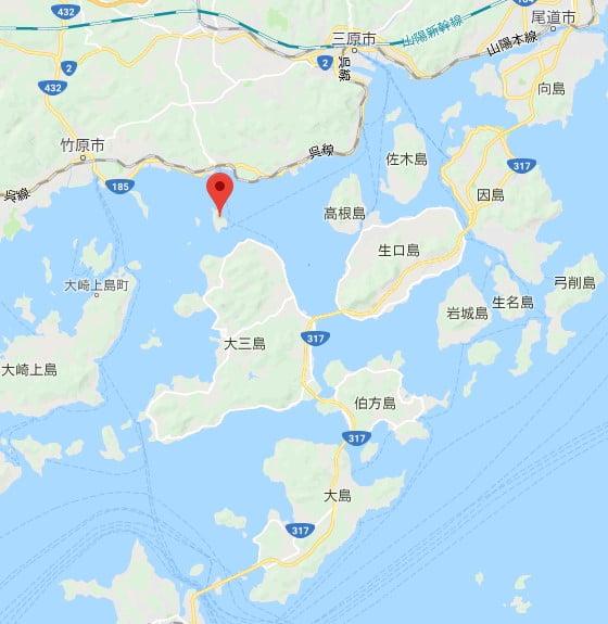 大久野島兔子島位置