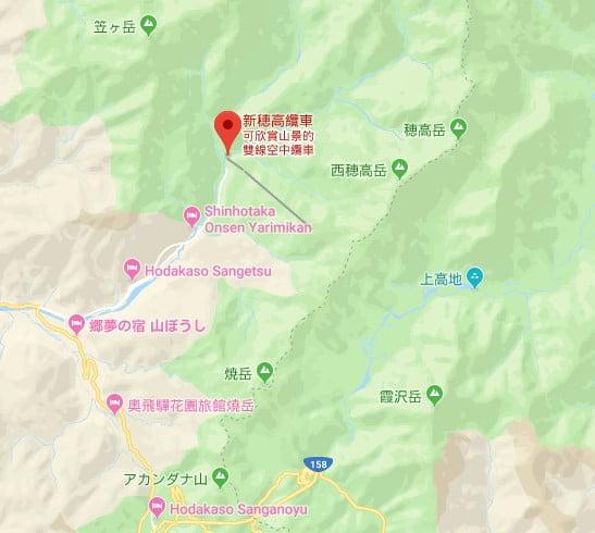 新穗高纜車位置