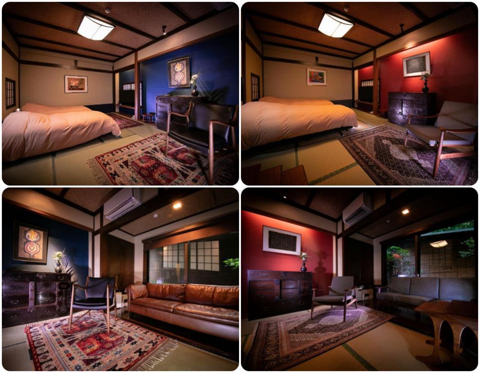 由布院彩岳館庭側特別和洋室藍、朱