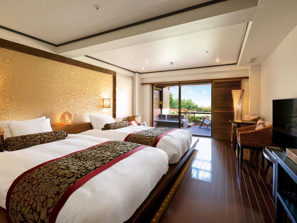箱根溫泉綠色廣場飯店亞洲風雙床房