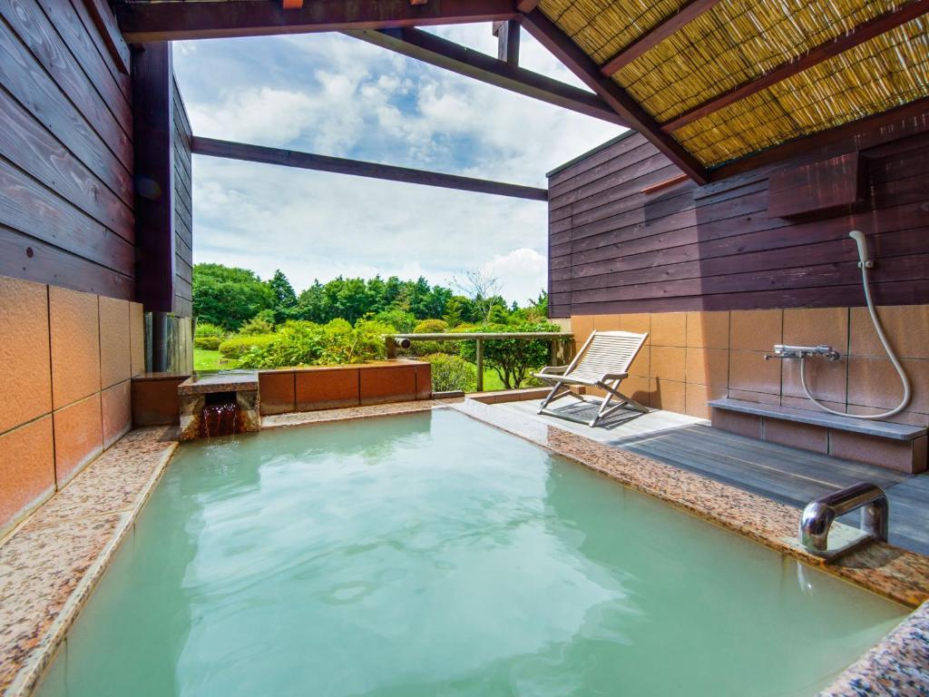 箱根溫泉綠色廣場飯店亞洲風雙床房露天風呂