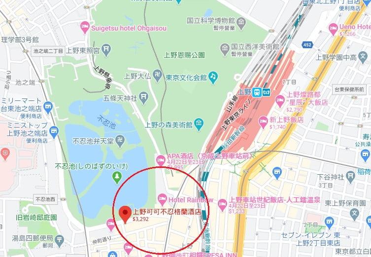 東京飯店上野不忍可可大位置