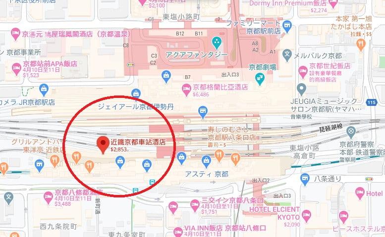 近鐵京都站都城市飯店位置