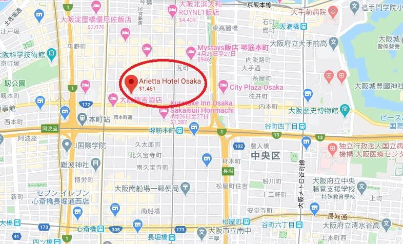 大阪Arietta飯店位置