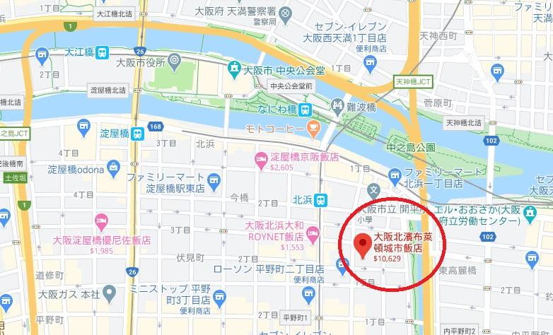 大阪飯店Brighton City位置