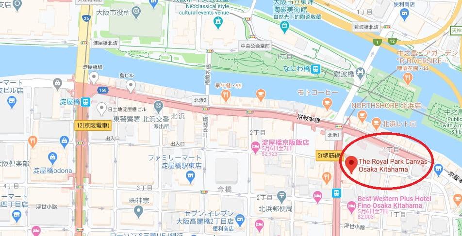 大阪飯店The Royal Park Canvas位置