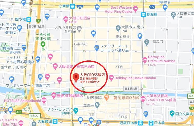 大阪飯店Cross Hotel位置