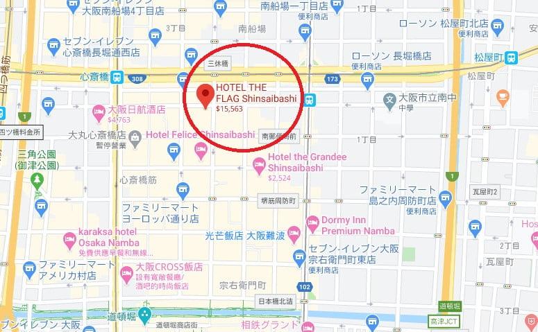 大阪Hotel the FLAG位置