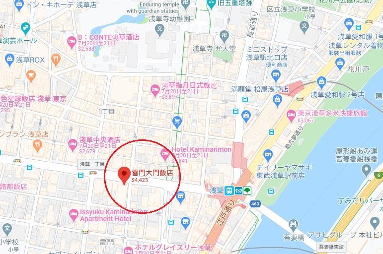 東京飯店THE GATE HOTEL雷門位置