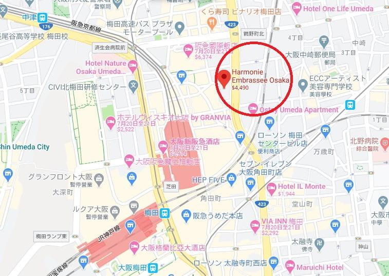 大阪Harmonie Embrassee 飯店位置