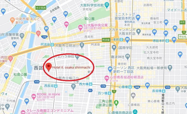 大阪飯店Hotel It Osaka位置