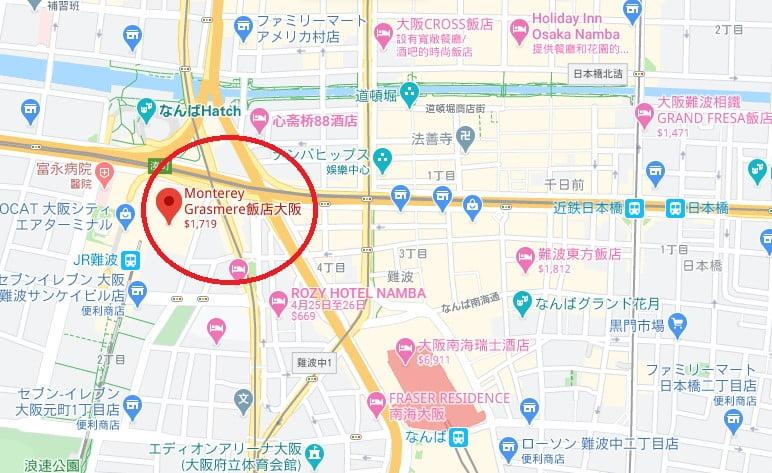 大阪飯店Monterey Grasmere位置