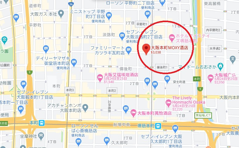 大阪飯店Moxy位置