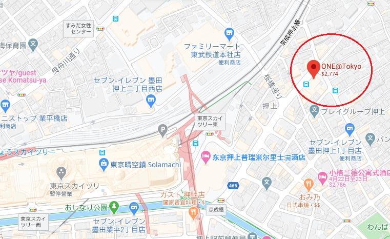 東京飯店ONE@Tokyo位置
