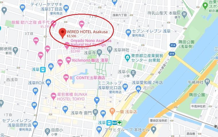 東京飯店淺草WIRED HOTEL位置