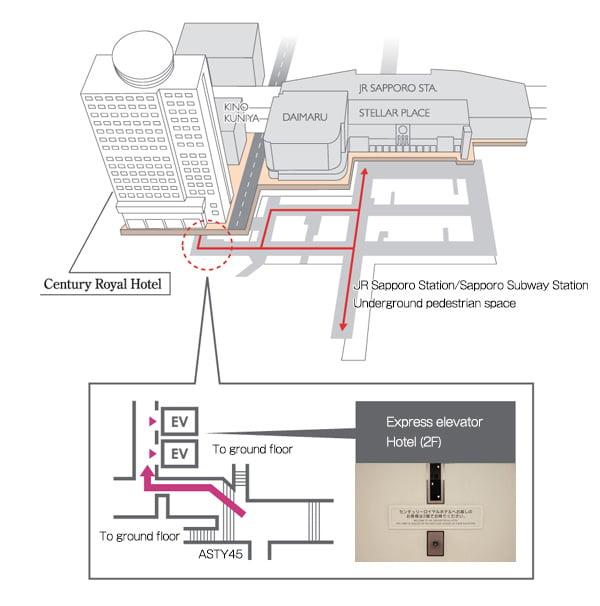 札幌站內直通札幌世紀皇家飯店地圖