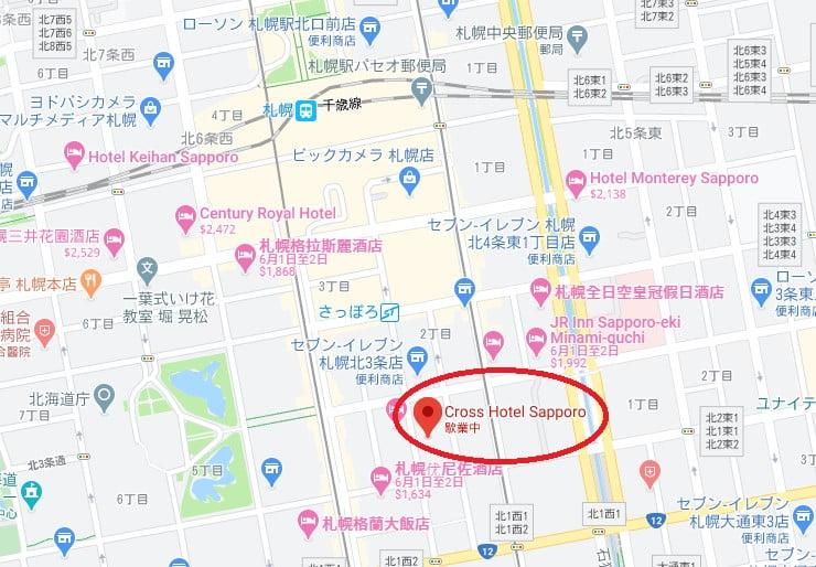 札幌飯店Cross Hotel位置