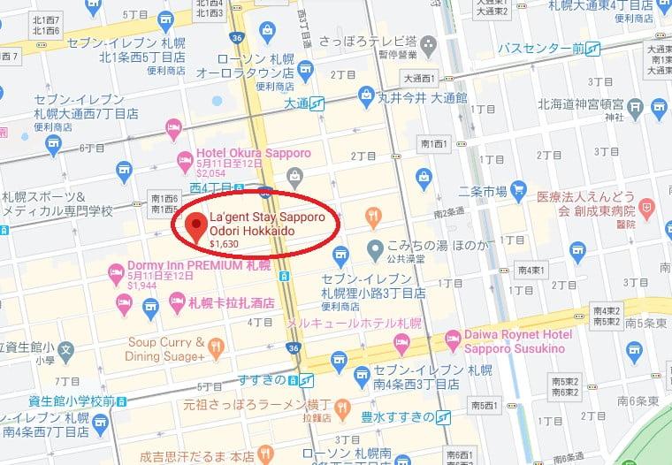 札幌飯店大通La'gent stay 位置