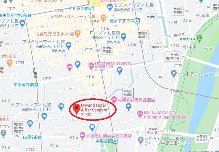 Unwind Hotel & Bar Sapporo位置