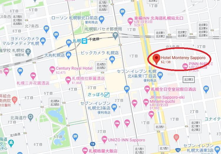 札幌Monterey飯店位置
