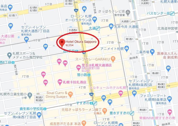 札幌大倉飯店位置
