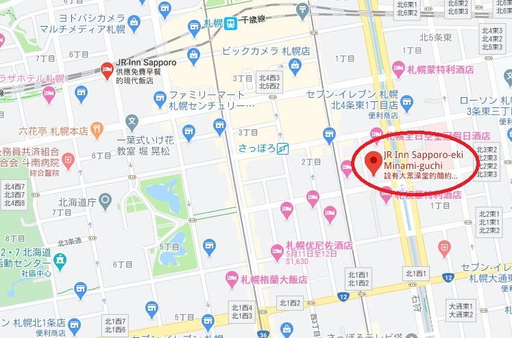 JR Inn札幌站南口店位置
