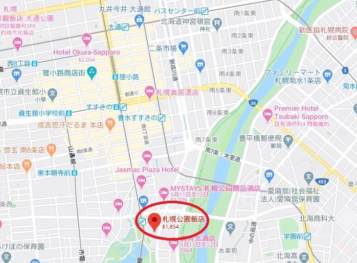 札幌公園飯店位置