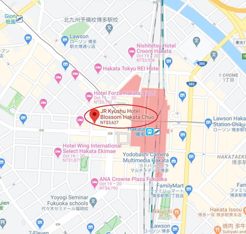 福岡JR九州飯店Blossom博多中央位置