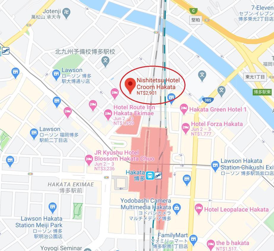 福岡飯店博多西鐵Croom位置