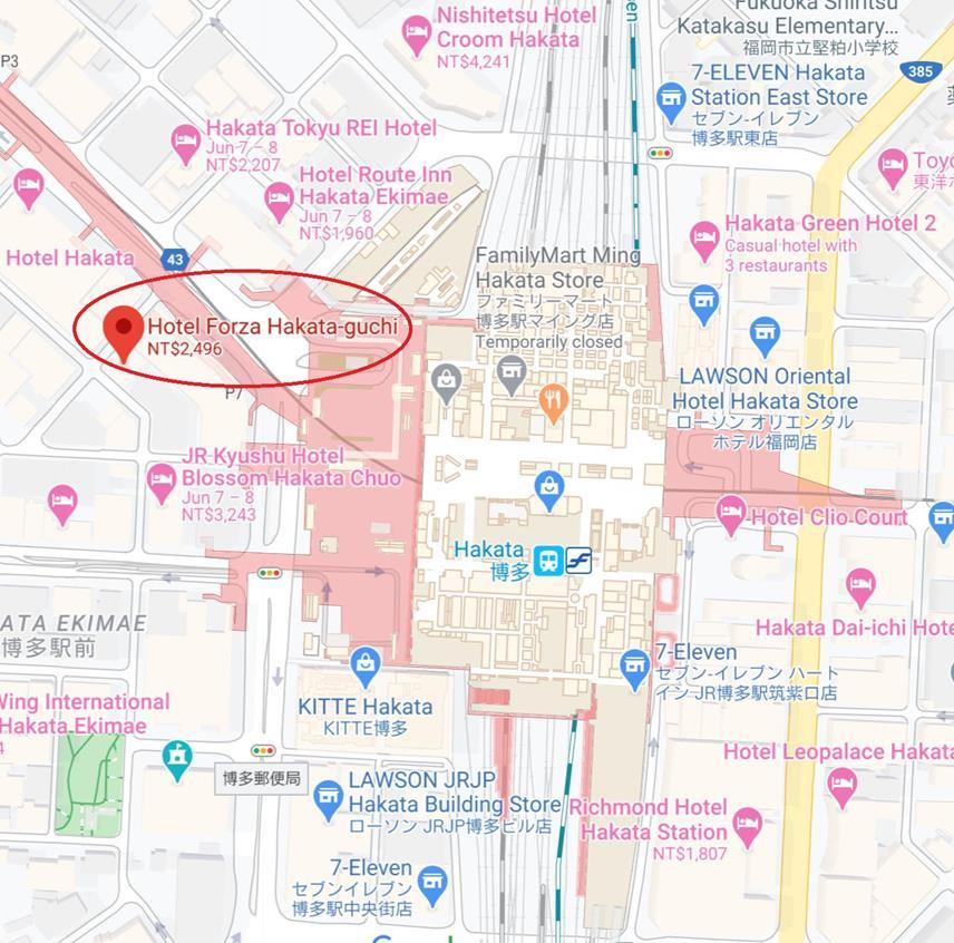福岡飯店Forza博多口店位置