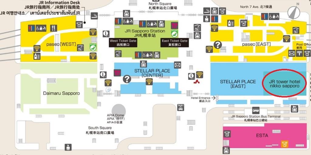 :札幌車站內直通JR Tower日航飯店地圖
