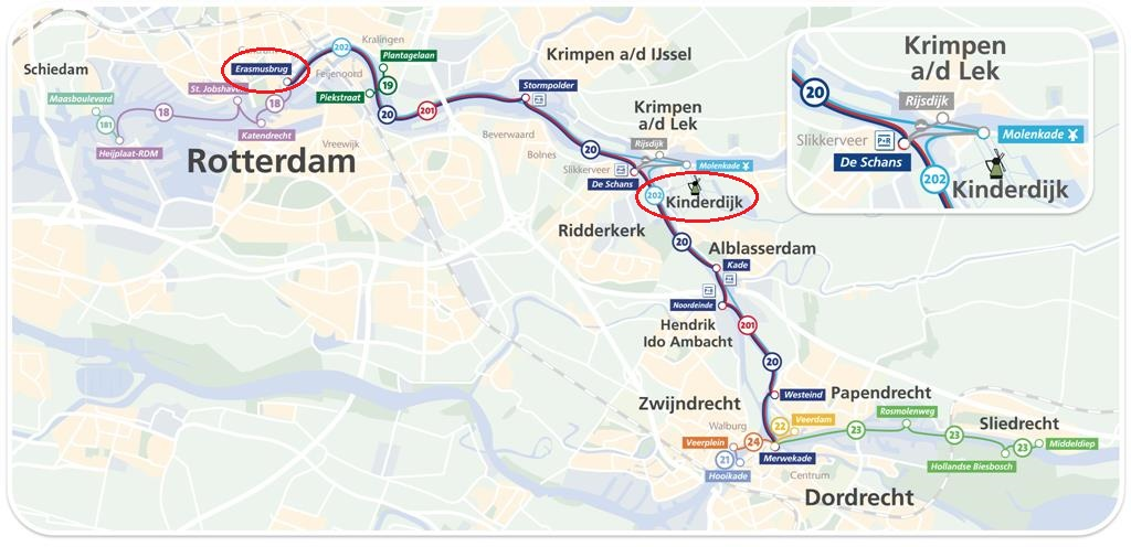 鹿特丹Waterbus 路線圖