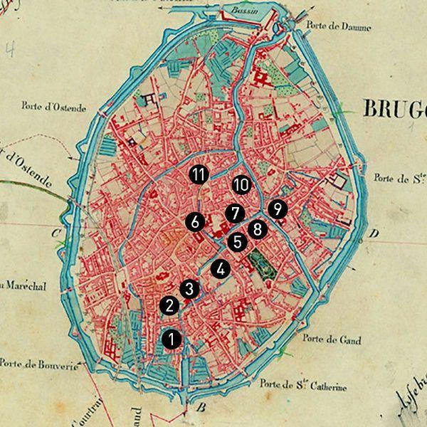 布魯日運河遊船路線圖