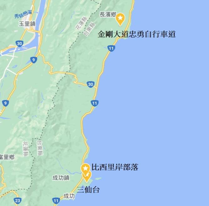 台東海線景點地圖