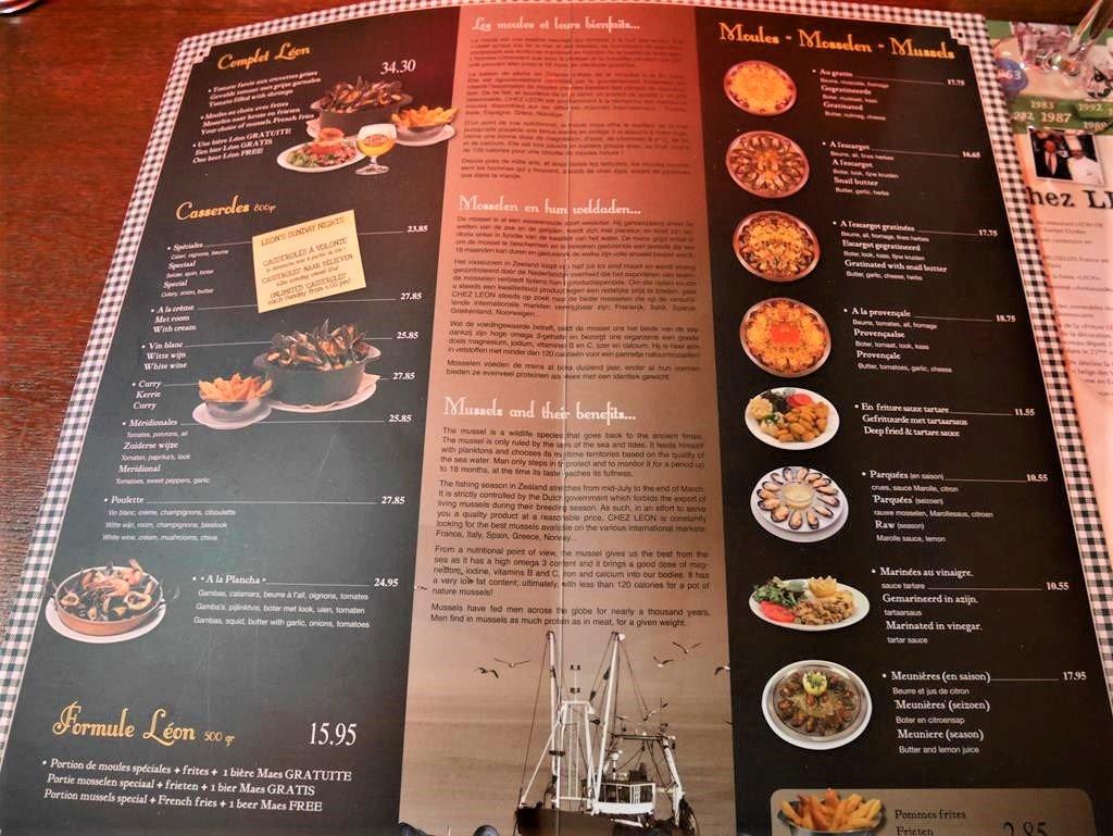 布魯塞爾Chez Leon餐廳菜單