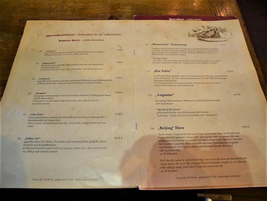 科隆Haxenhaus餐廳菜單