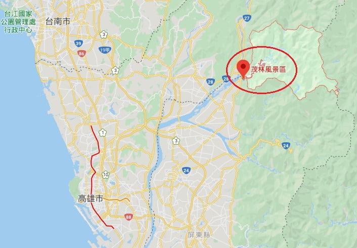 高雄茂林風景區位置