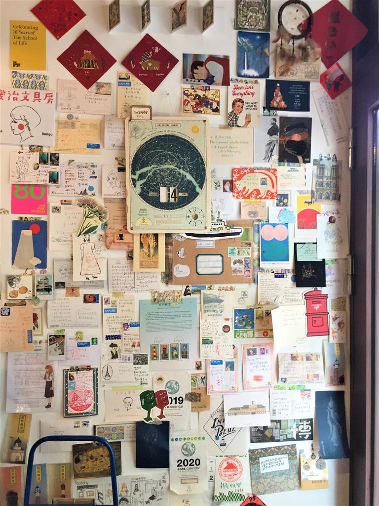 愛治文具房明信片裝飾牆