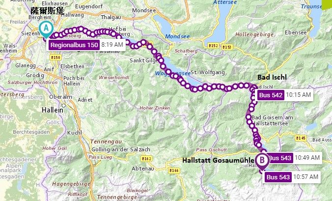 薩爾斯堡到哈爾施塔特巴士路線