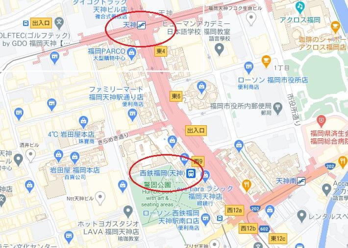 西鐵福岡天神站位置