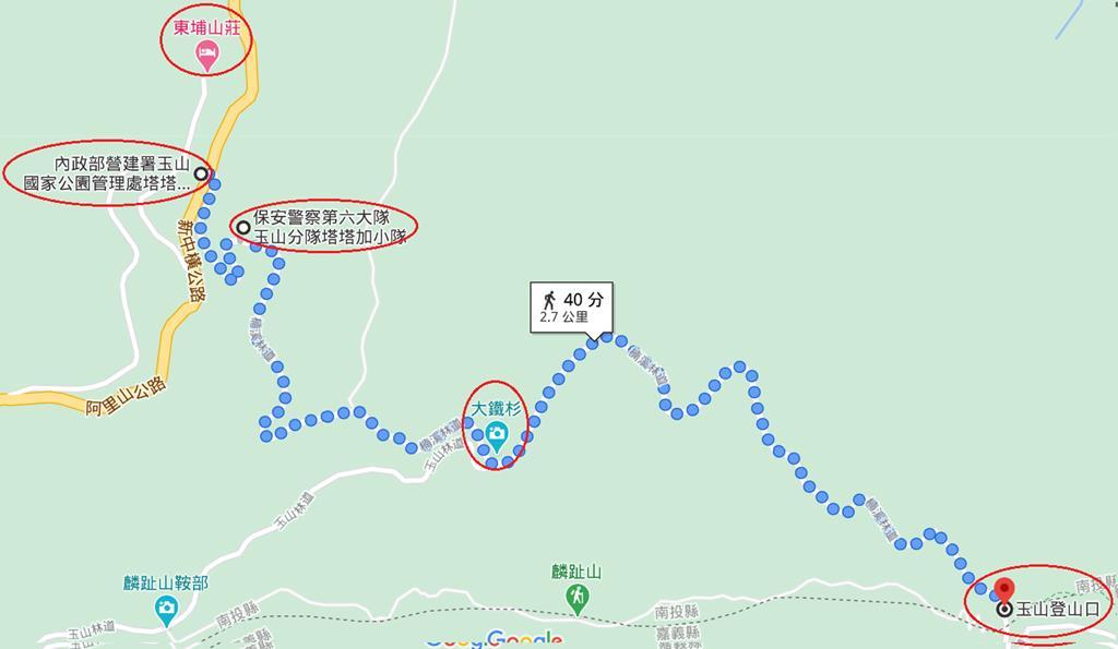 塔塔加停車場-2.7k→玉山登山口0k路線