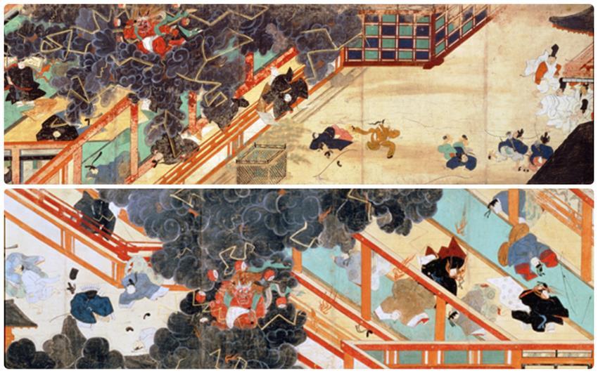 北野天滿宮所收藏的清涼殿落雷事件繪卷