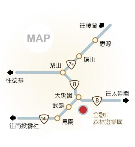 登合歡山交通地圖
