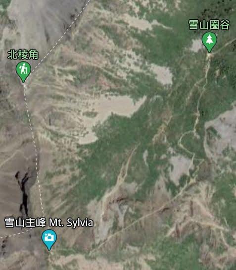 雪山圈谷到雪山主峰路線圖