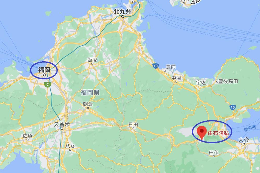 由布院與福岡市相對位置