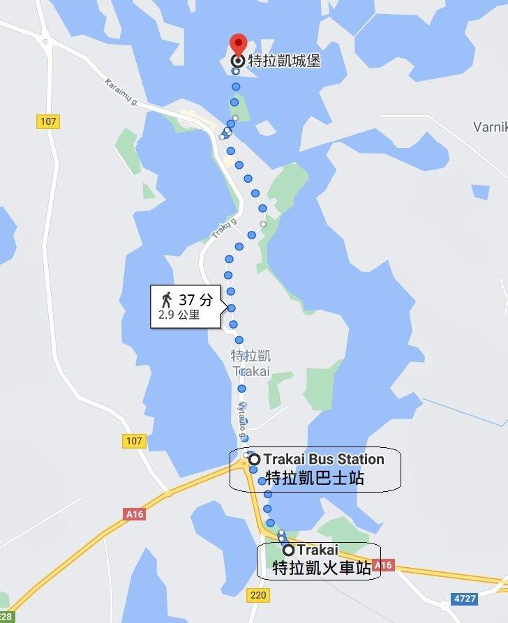 特拉凱火車站與巴士站位置圖